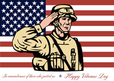 Happy Veterans Day Greeting Card Soldier Salute. Greeting card poster showing illustration of an American soldier serviceman saluting with stars and stripes flag Royalty Free Stock Images
