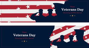 Happy Veterans Day. Greeting card with USA flag, map and soldiers on background. National American holiday event. Flat vector illu stock illustration