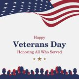 Happy Veterans Day. Greeting card with USA flag and soldier on background. National American holiday event. Flat  illustrati. On EPS10 Royalty Free Stock Photography