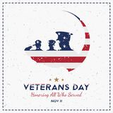 Happy Veterans Day. Greeting card with USA flag and soldier on background. National American holiday event. Flat vector illustrati stock illustration