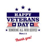 Happy veterans day greeting card. White background vector illustration