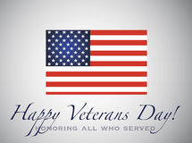 Happy veterans day. Honoring all who served. American Flag. 11th of November Stock Photography