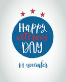 Happy Veterans Day lettering for your design Stock Photo