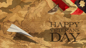 Happy Veterans Day. Paper Airplane and Boat. Usa Flag MImetic Clouds and America Nautical Chart Stock Image