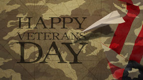 Happy Veterans Day. Paper Airplane and Camouflage. Background Royalty Free Stock Images