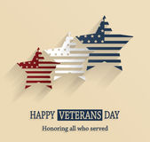 Happy Veterans Day poster. Honoring all who served. Vector illustration Stock Image