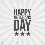 Happy Veterans Day Text. On striped Background. Vector Illustration Stock Image