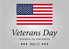 Happy Veterans Day with USA flag illustration. November 11th. Celebration poster with stars and stripes. Greeting card. Happy Veterans Day with USA flag Stock Image