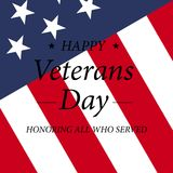 Happy Veterans Day with USA flag illustration. November 11th. Celebration poster with stars and stripes. Greeting card. Happy Veterans Day with USA flag Royalty Free Stock Images