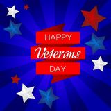 Happy Veterans Day! vector illustration on blue background with stars vector illustration