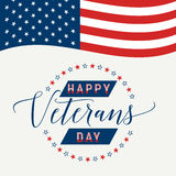 Happy Veterans Day with waving American flag Vector illustration Royalty Free Stock Images