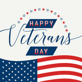 Happy Veterans Day with waving American flag Vector illustration. Vector illustration of waving American flag with lettering Happy Veterans Day. November 11 Royalty Free Stock Photos