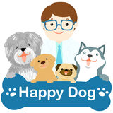 Happy veterinarian and dogs on white background  Royalty Free Stock Image
