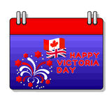 Happy Victoria Day card with fireworks, flag, calendar icon. Stock Image