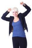 Happy victorious young businesswoman, isolated Stock Photography