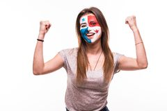 Happy victory scream woman fan support Panama national team with painted face isolated on white background. Happy victory scream woman fan support Panama royalty free stock photography
