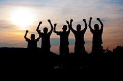 Happy and victory together Stock Photography