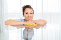 Happy Vietnamese housewife Stock Photos