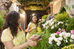 Mother and daughter working in flower shop royalty free stock photo