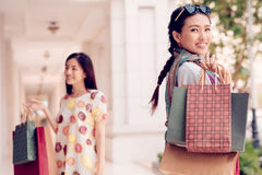 Happy Vietnamese shopaholic Stock Images