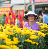 Happy Vietnamese woman selling flowers Stock Photos