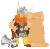 Viking and his tools. Happy viking with ax and large beige clean paper Royalty Free Stock Images