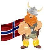 Viking and flag. Happy viking with flag stand and show gesture hey, you Royalty Free Stock Photo