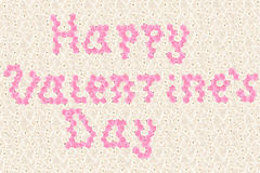 Happy vilentine's day text typed by pink rose flowers Stock Images