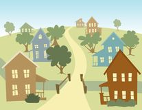 Happy Village. Illustration of a village with a road and a bridge across a stream Royalty Free Stock Photography