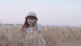 Happy village childhood, little cute girl with straw hat having fun and laughing spins in reaped grain wheat spikes at stock video footage