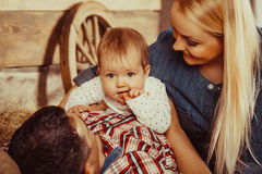 Happy village family Royalty Free Stock Images