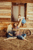 Happy village family Stock Photography