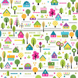 Happy village pattern Royalty Free Stock Images