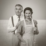 Happy vintage couple at home Royalty Free Stock Photography