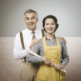 Happy vintage couple at home Stock Photos