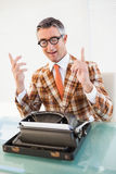Happy vintage man with glasses gesturing Royalty Free Stock Image