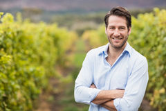 Happy vintner with crossed arms Stock Photo