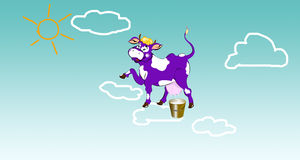 Happy violet smiling cow. Happy violet dairy smiling cow on clouds Royalty Free Stock Photography