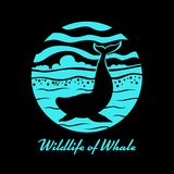 Wildlife of Whale with whale on sea ocean in circle banner sign vector design.  Stock Image