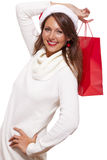 Happy vivacious Christmas shopper Stock Photo