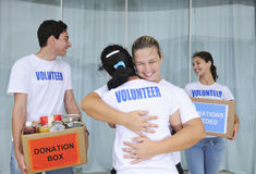 Happy volunteer group with food donation Royalty Free Stock Images