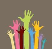 Happy volunteering hands. Raster version of happy volunteering hands Royalty Free Stock Photos