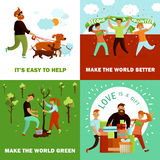 Happy Volunteers Design Concept. Volunteers design concept with four flat cartoon compositions and human characters of young people with text vector illustration Royalty Free Stock Images