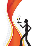 Happy Waiter Graphic. Happy waiter serving champagne. Graphic illustration stock illustration