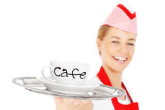 Happy waitress with coffee Stock Image