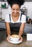 Happy waitress stock image