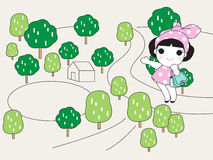 Happy Walk Home Character illustration. The smiling young lady has a happy walk back to her home Stock Photography