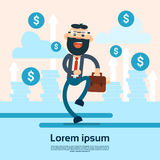 Happy Walking Business Man Hold Briefcase Arrow Up Background Financial Success. Flat Vector Illustration Stock Photo