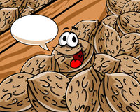 Happy walnut with speech bubble Royalty Free Stock Images