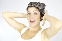Happy about washing my hair Stock Photo